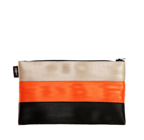 L Pencil case Gold Orange Black front