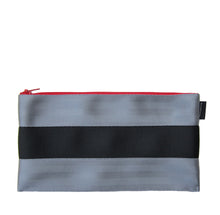 Load image into Gallery viewer, L Pencil case Grey Black Grey red zip back