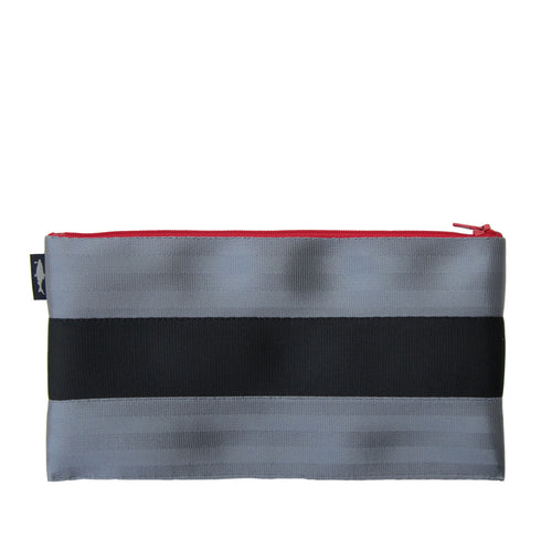 L Pencil case Grey Black Grey red zip front