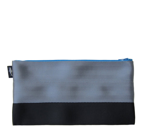 L Pencil case Grey Black blue zip front