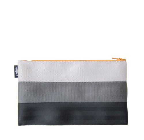 L Pencil case White Grey Black mustard yellow zip front