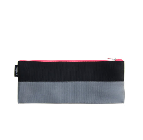M Pencil case Black Grey neon pink zip front