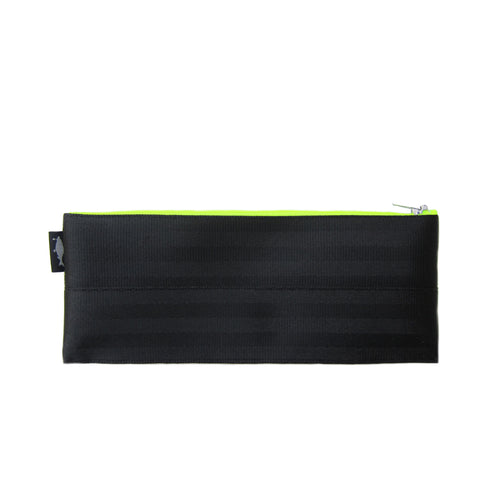 M Pencil case Black neon yellow zip front