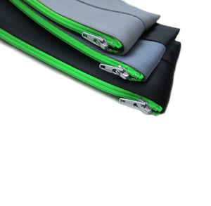 M Pencil case Grey Black neon green zip 3