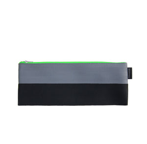 M Pencil case Grey Black neon green zip back