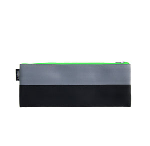 M Pencil case Grey Black neon green zip front