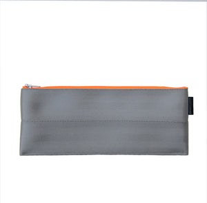 M Pencil case Grey neon orange zip back