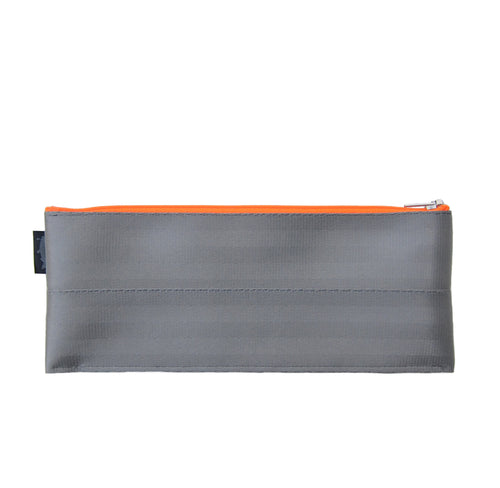 M Pencil case Grey neon orange zip front