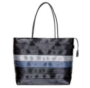 Shopper Tote Black Grey Blue front