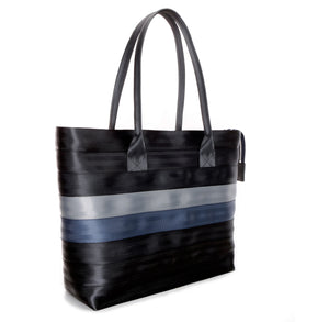 Shopper Tote Black Grey Blue left