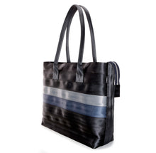 Load image into Gallery viewer, Shopper Tote Black Grey Blue right