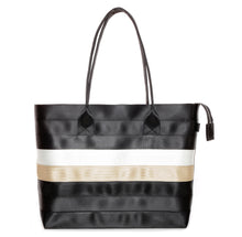 Load image into Gallery viewer, Shopper Tote Black White Gold front