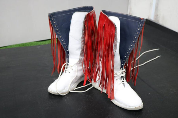 White Pro Boots with red tassles (Size 10)