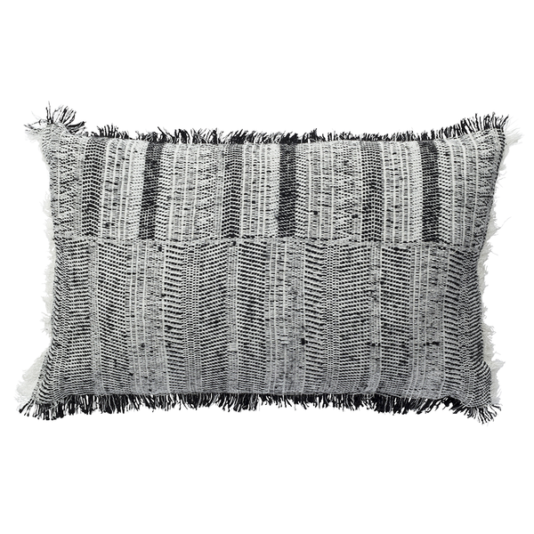 Cushion rectangle natural/black silk and wool