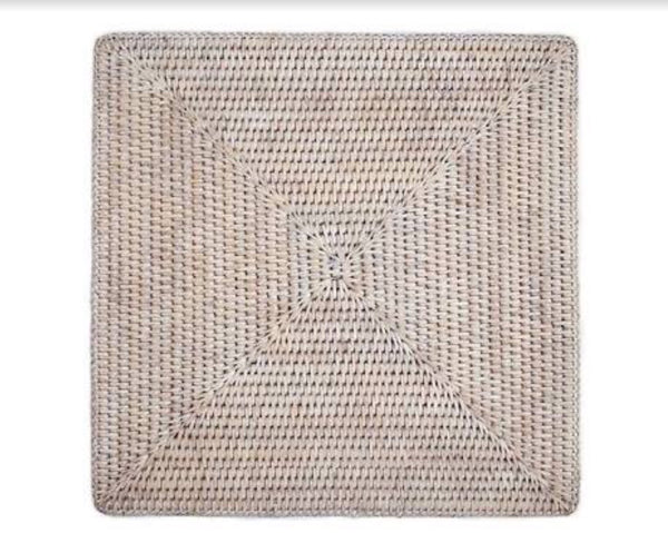Placemat rattan square whitewash