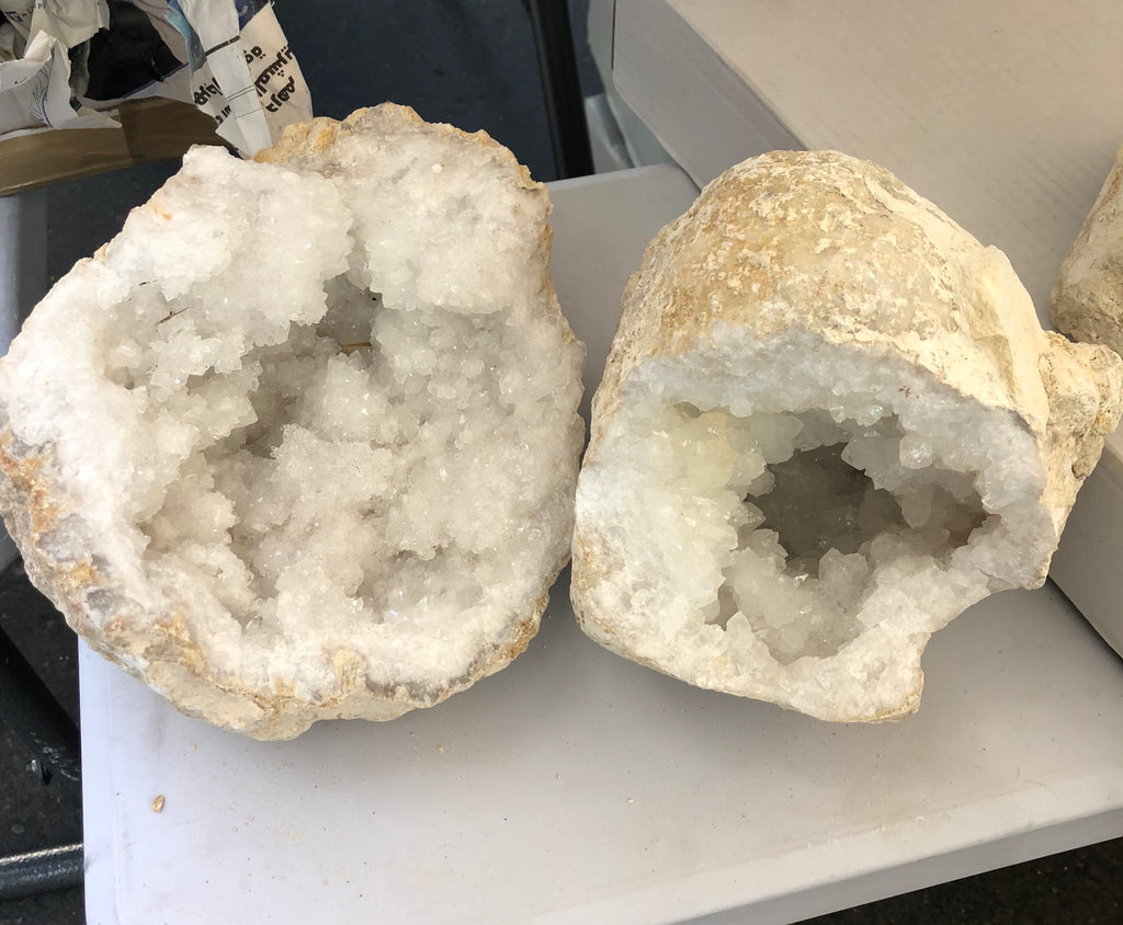 Crystal quartz geodes