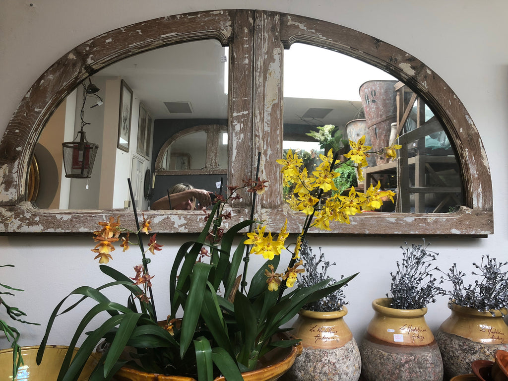 French timber arched mirror
