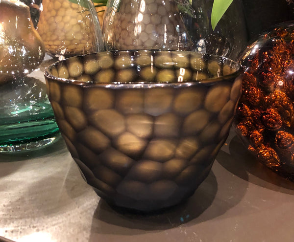 Carved Glass vase amber brown