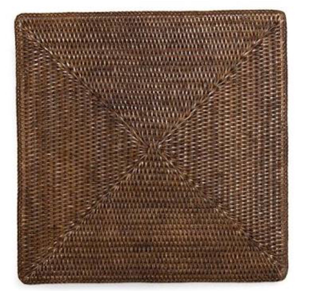 Placemat rattan square brown