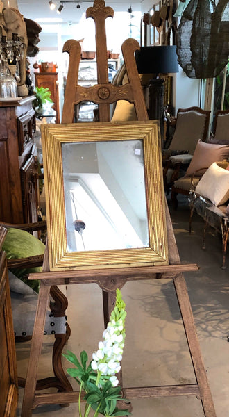 French gilt reeeded petite mirror