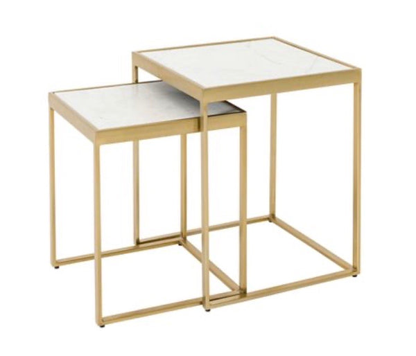 Marble top nesting tables square