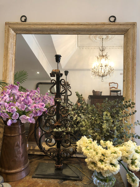 French aged gilt timber mirror