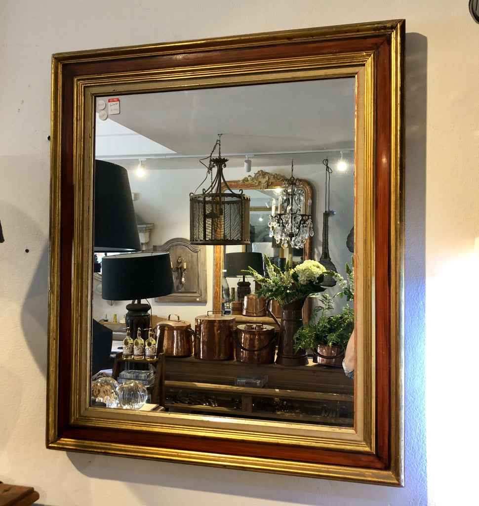 French gilt and burgundy mirror