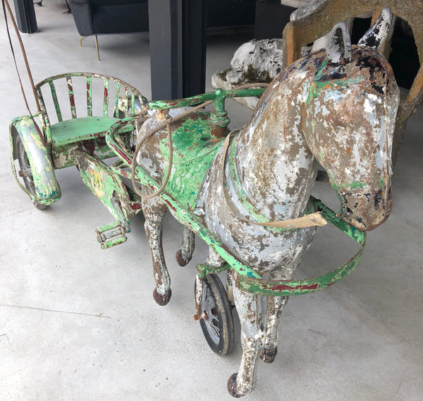 French metal horse and cart