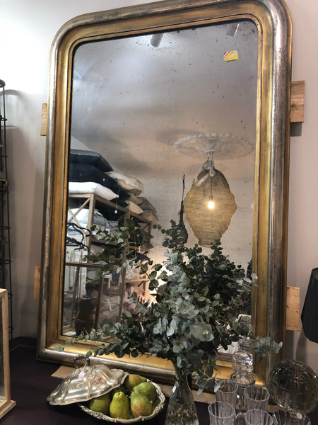 French salon mirror silver & gold patina