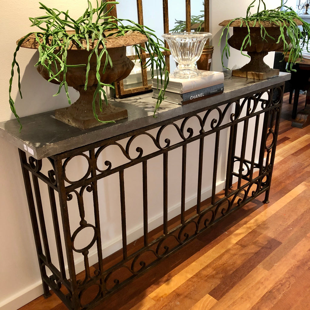 Blue stone console table metal