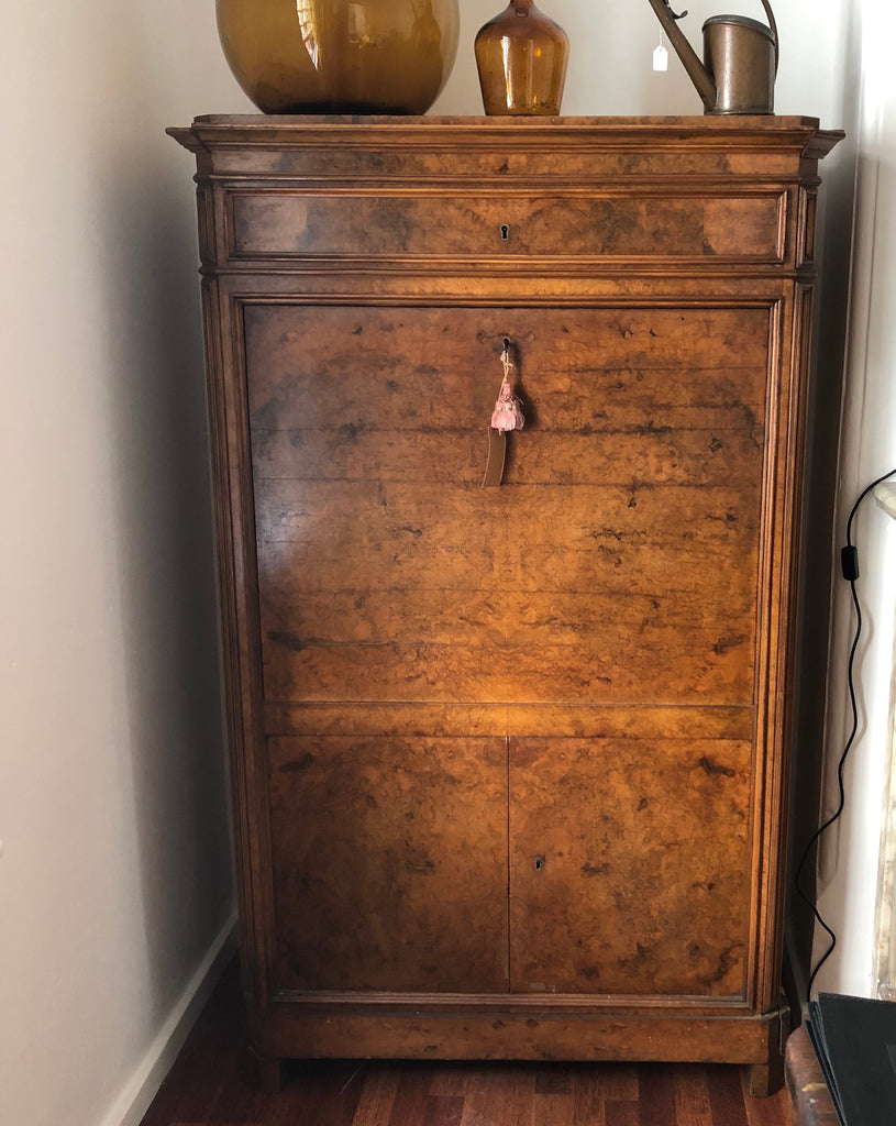 19thC burr walnut secretaire abattant RESERVED