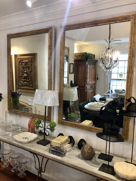 French gilt reeded mirror pair