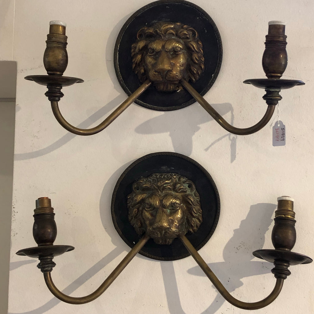 French lions head wall sconces pair