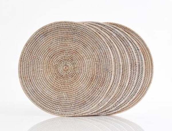 Placemat rattan round Whitewash