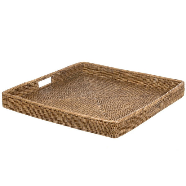 Tray rattan square XL vintage brown