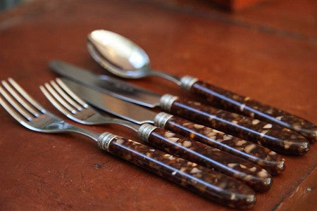 Italian Tortoiseshell style Cutlery Set (two sets remaining)