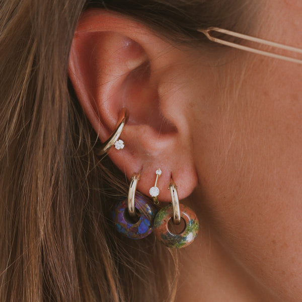 Purple Copper BEAD earring