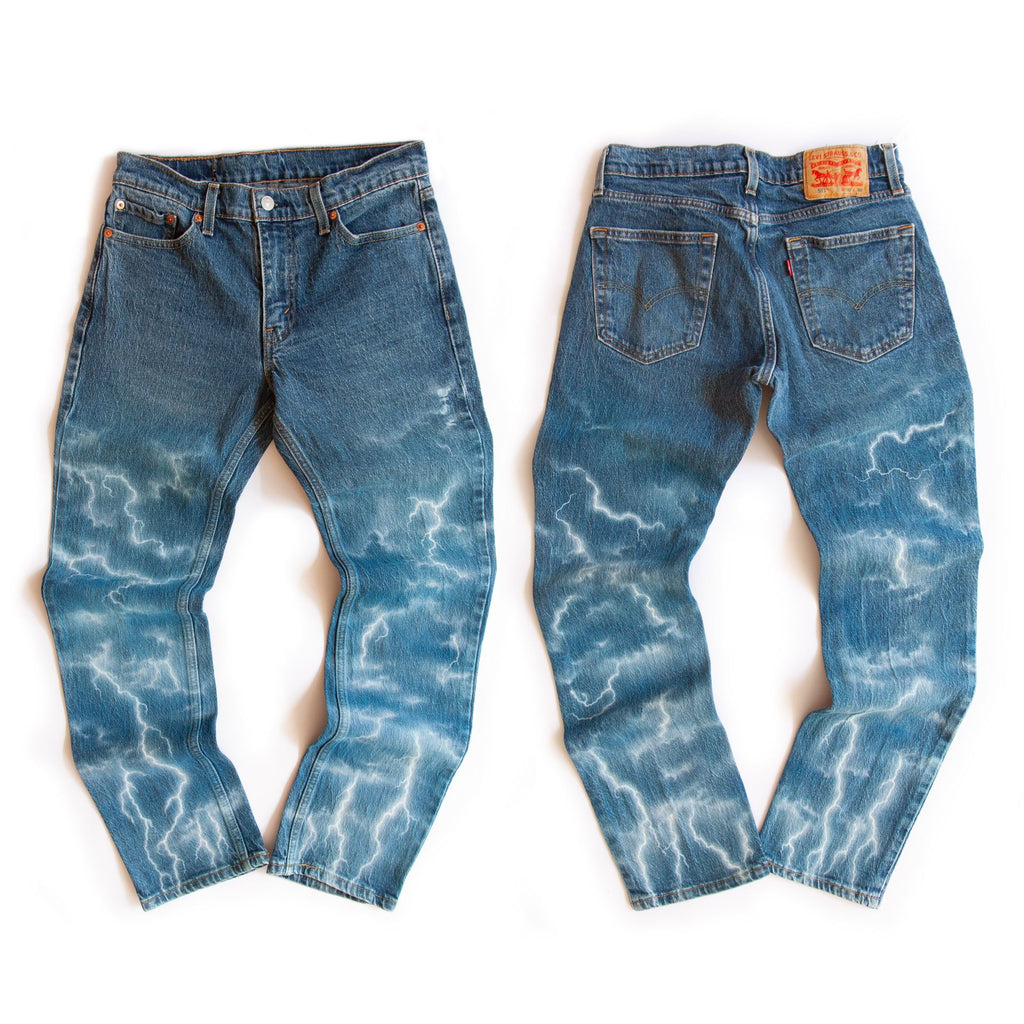 ELECTRIC STORM - Upcycled blue denim jeans