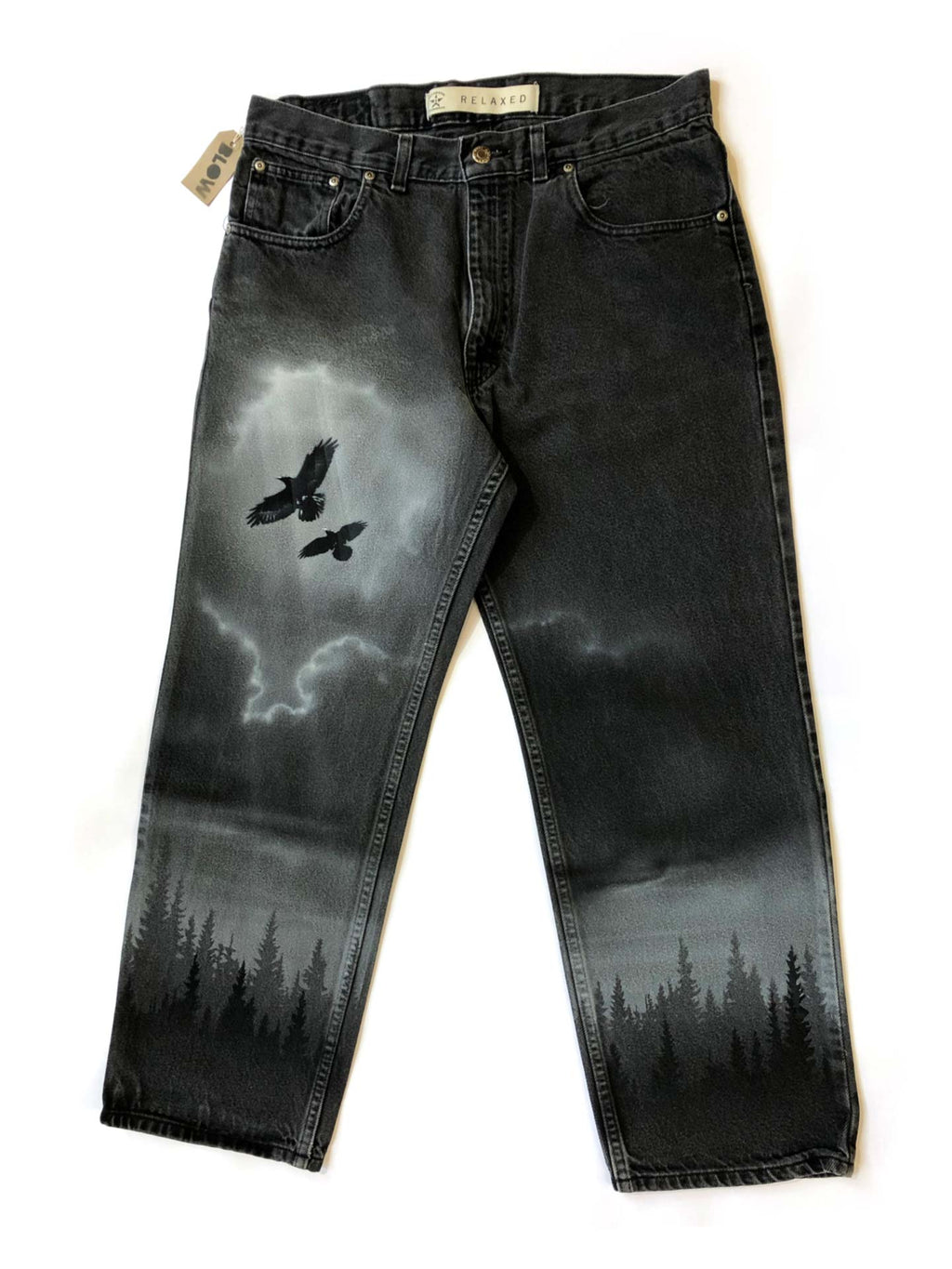 WINTER DAWN - Upcycled black denim jeans