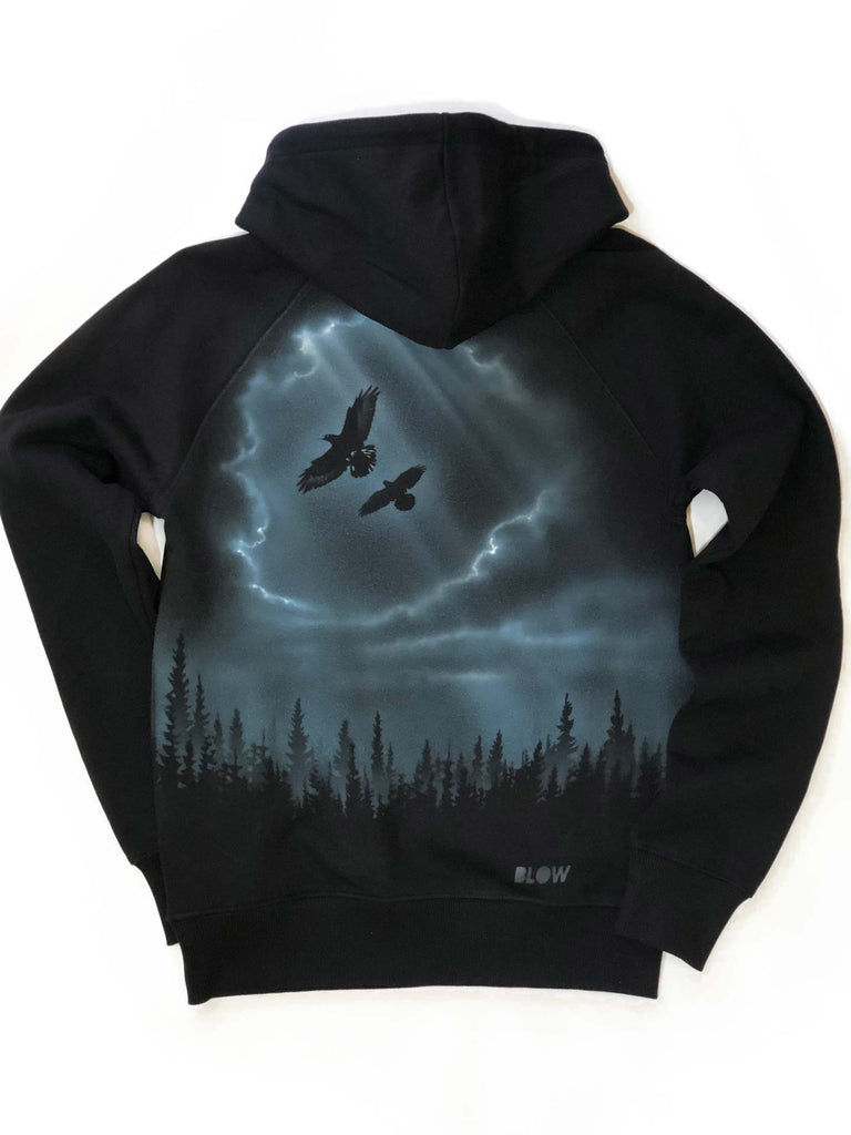 WINTER DAWN - Classic heavy unisex raglan pullover hoodie with side pockets - BLOW London