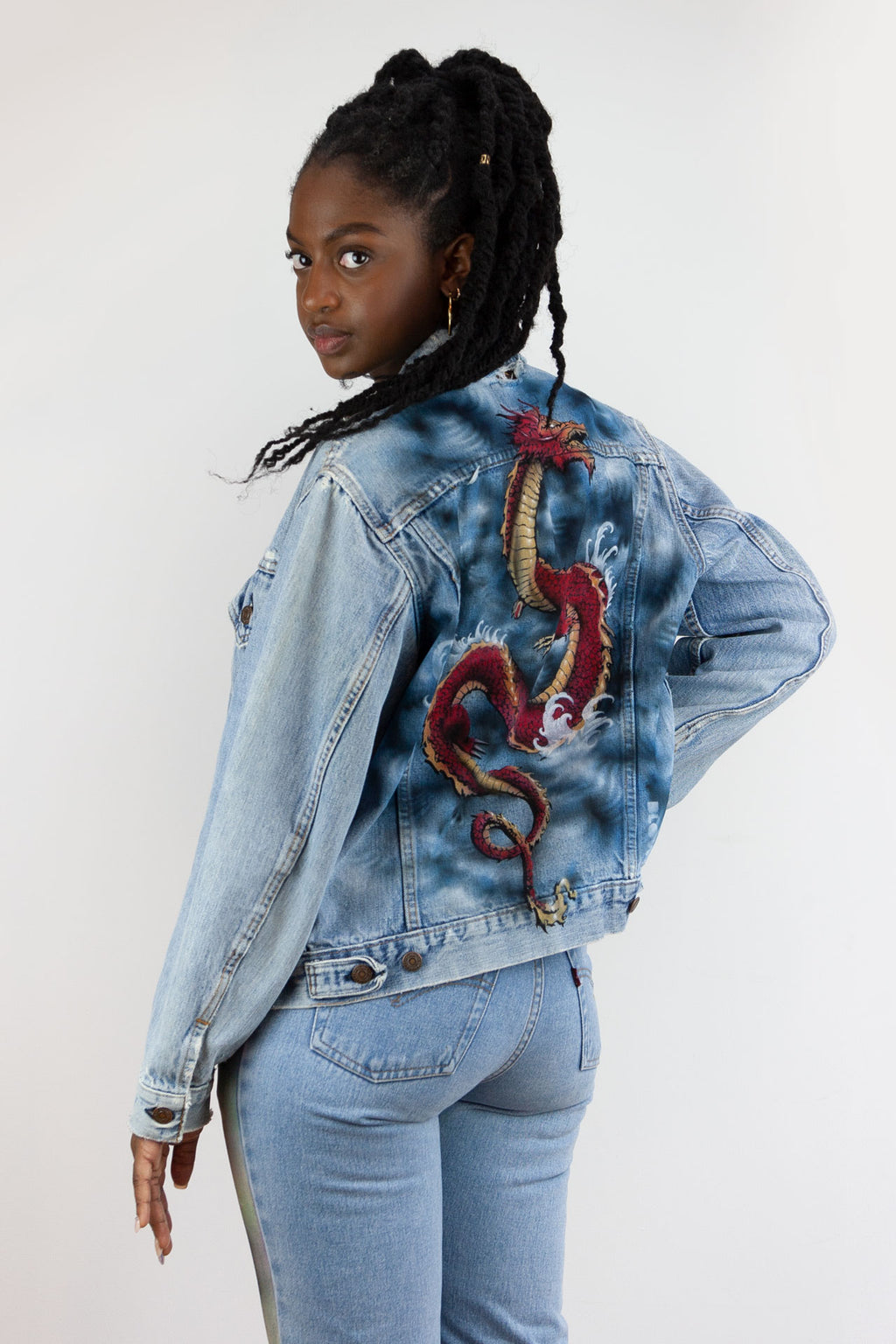 STORM DRAGON - Upcycled women's Levi's denim jacket