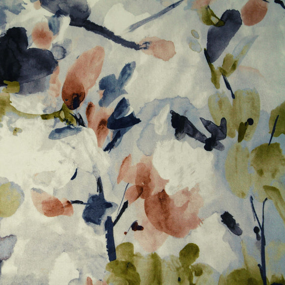 Abstract floral watercolor print design microfiber with velveteen smooth texture for recovering furniture.