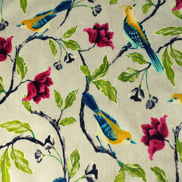 Sweet floral with bird print on micro fiber with high rub count and easy care. Wipe clean spills on this smooth velvet texture. Fade resistant 100% polyester for sunny windows.