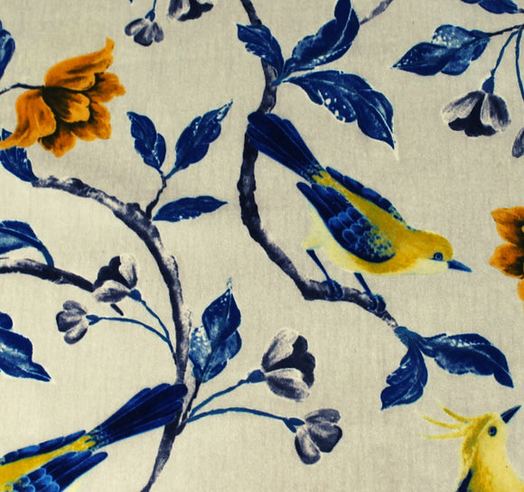 sweet bird print floral for spring on a practical fabric which is long wearing and easy care.   This color is royal blue and yellow with a greige background.