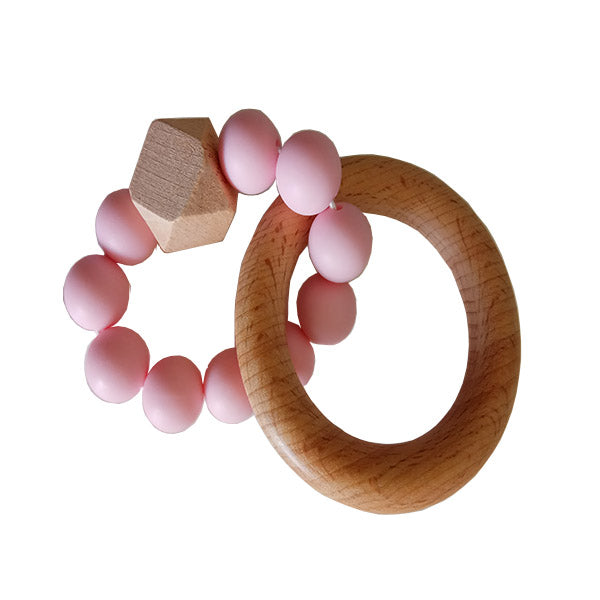 Wooden Rattle Teether with Pink Beads