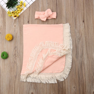 Swaddles Blankets with Gauze Wrap Tassel
