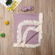 Load image into Gallery viewer, Swaddles Blankets with Gauze Wrap Tassel