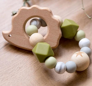 Wooden Rattle Teether Baby Toys Engraved Wood Beads Hexagon Teether Silicone Beads 12Mm Tiny Rod Baby Crib Rattle