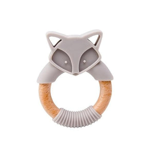 Baby Toys-  Silicone Baby Teether  With Wooden Ring
