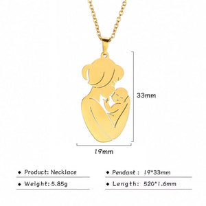Mom Dad Baby Pendant Mother Day Necklace Gold Color Stainless Steel Chain Jewelry For Women Wife Maternal Family Charm Love Gift